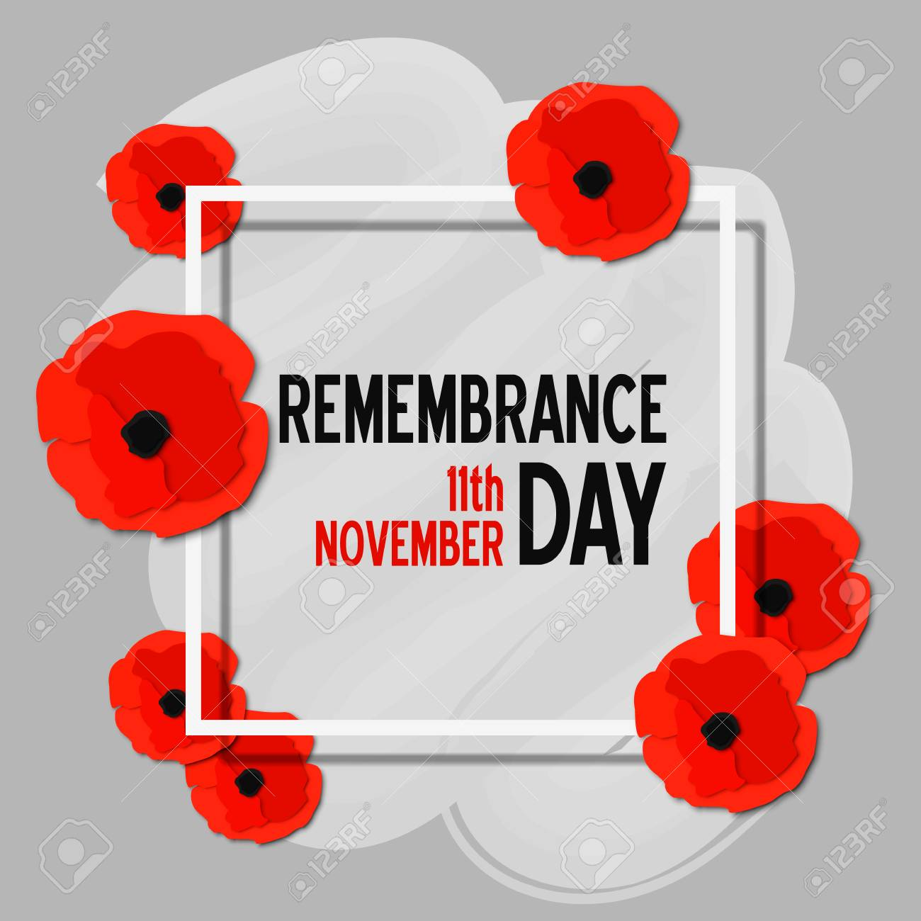 Remembrance Day Paper Cut Poster With Poppy Flowers And White