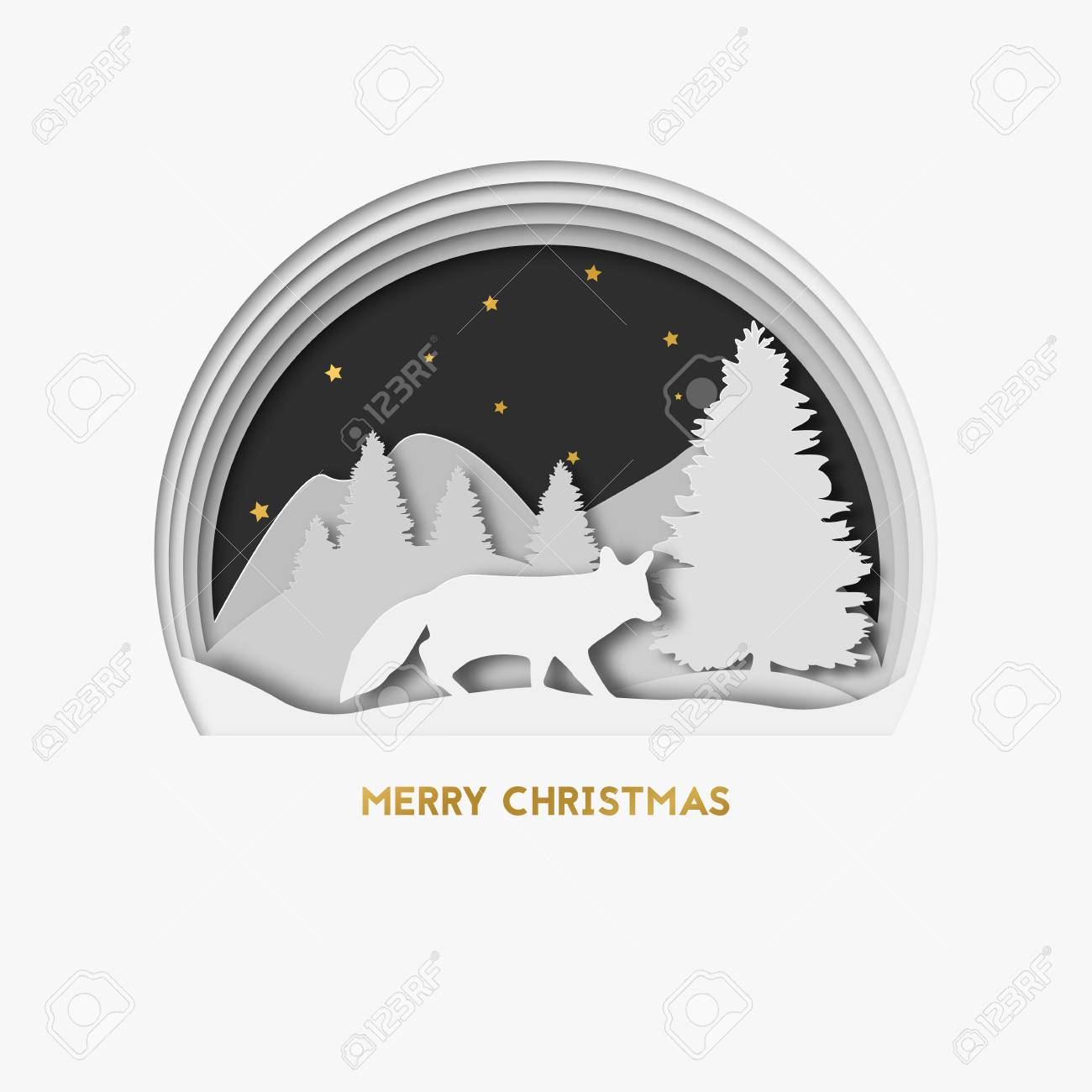 merry christmas 3d layered paper art greeting christmas card