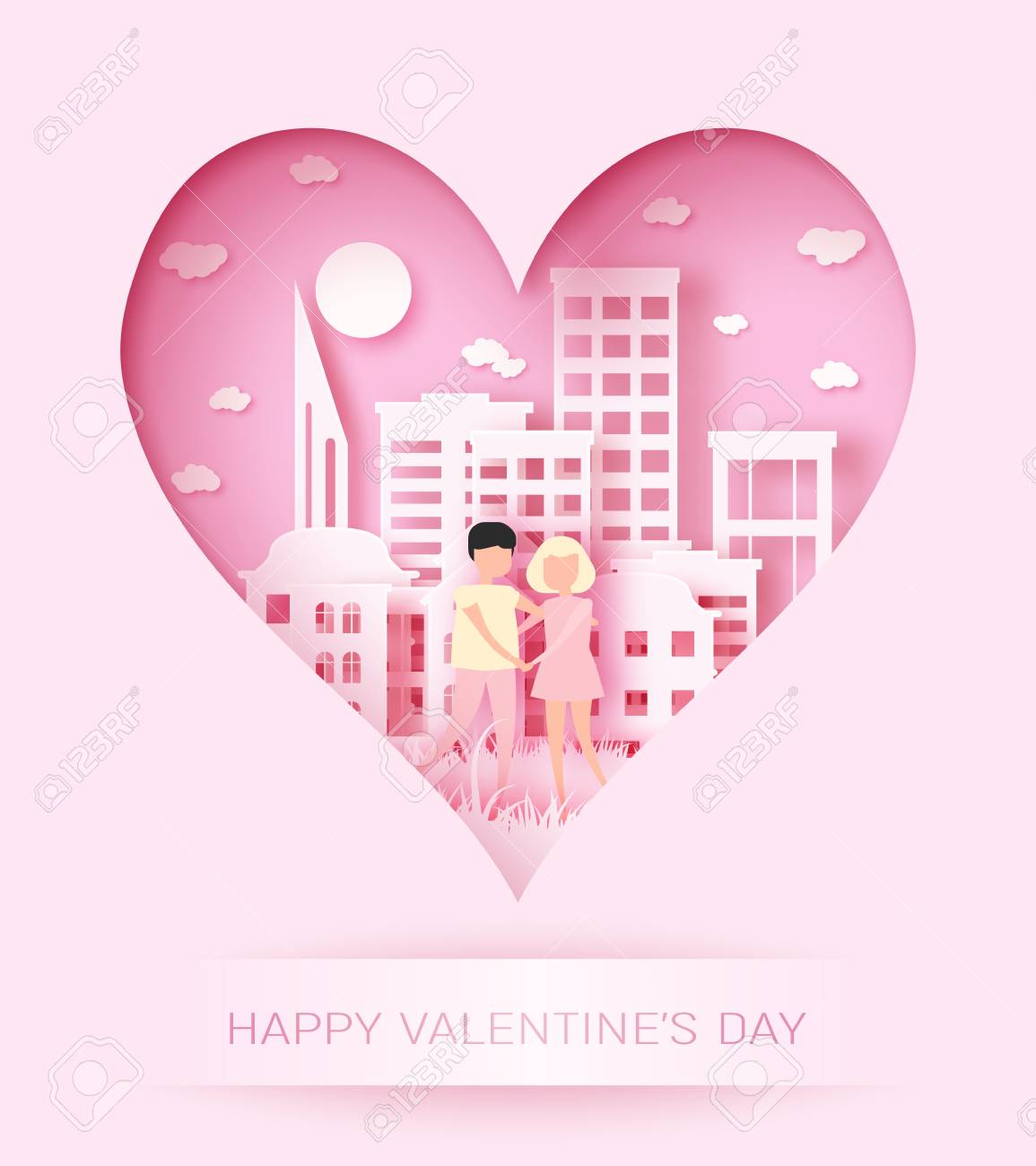 Happy Valentine S Day 3d Abstract Paper Cut Illustration Of Colorful