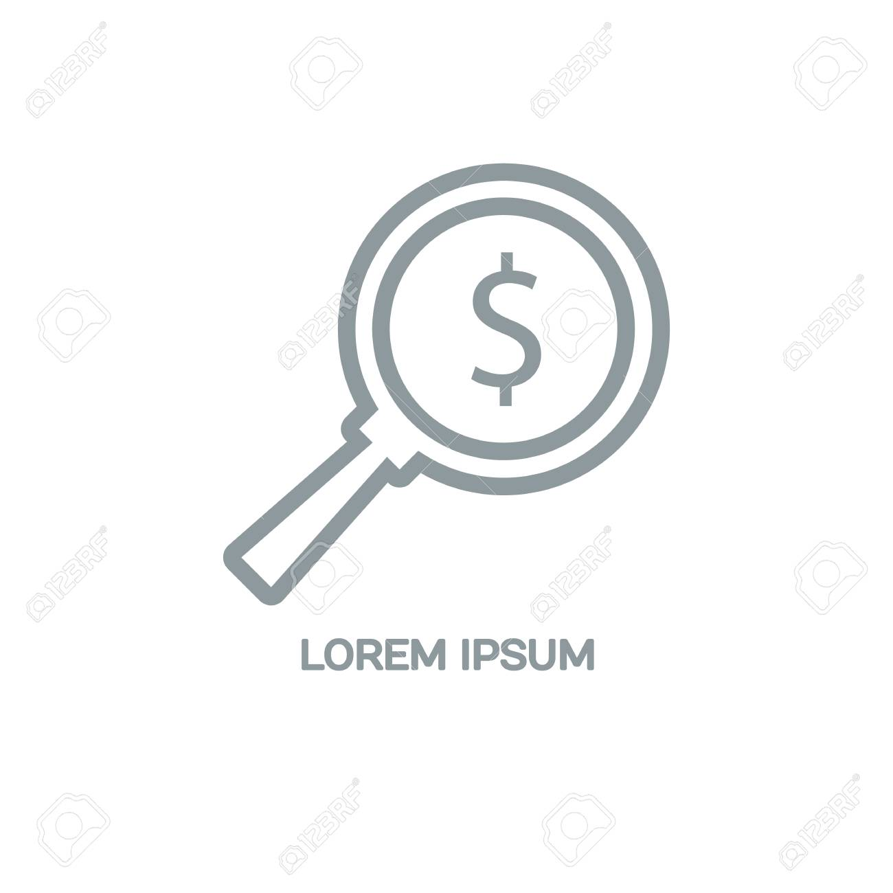 Line Style Logotype Template With A Magnifying Glass And A Dollar ...