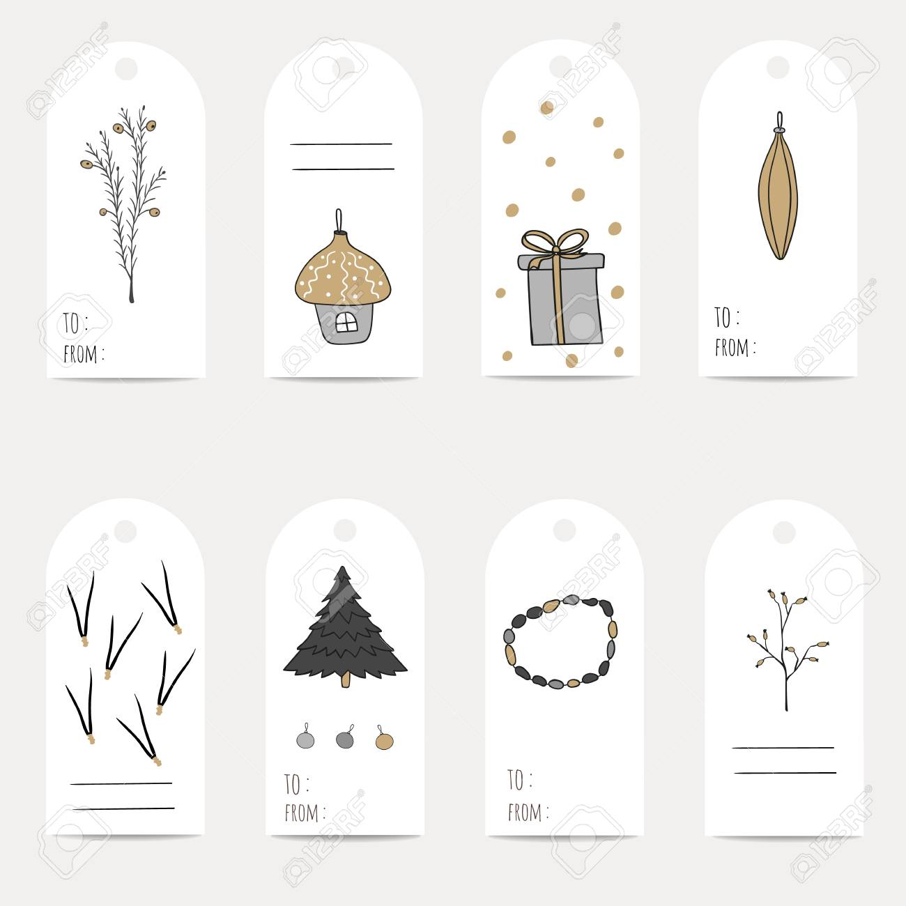 CHRISTMAS GIFT TAGS, STICKERS AND LABELS. Template For Greeting ...