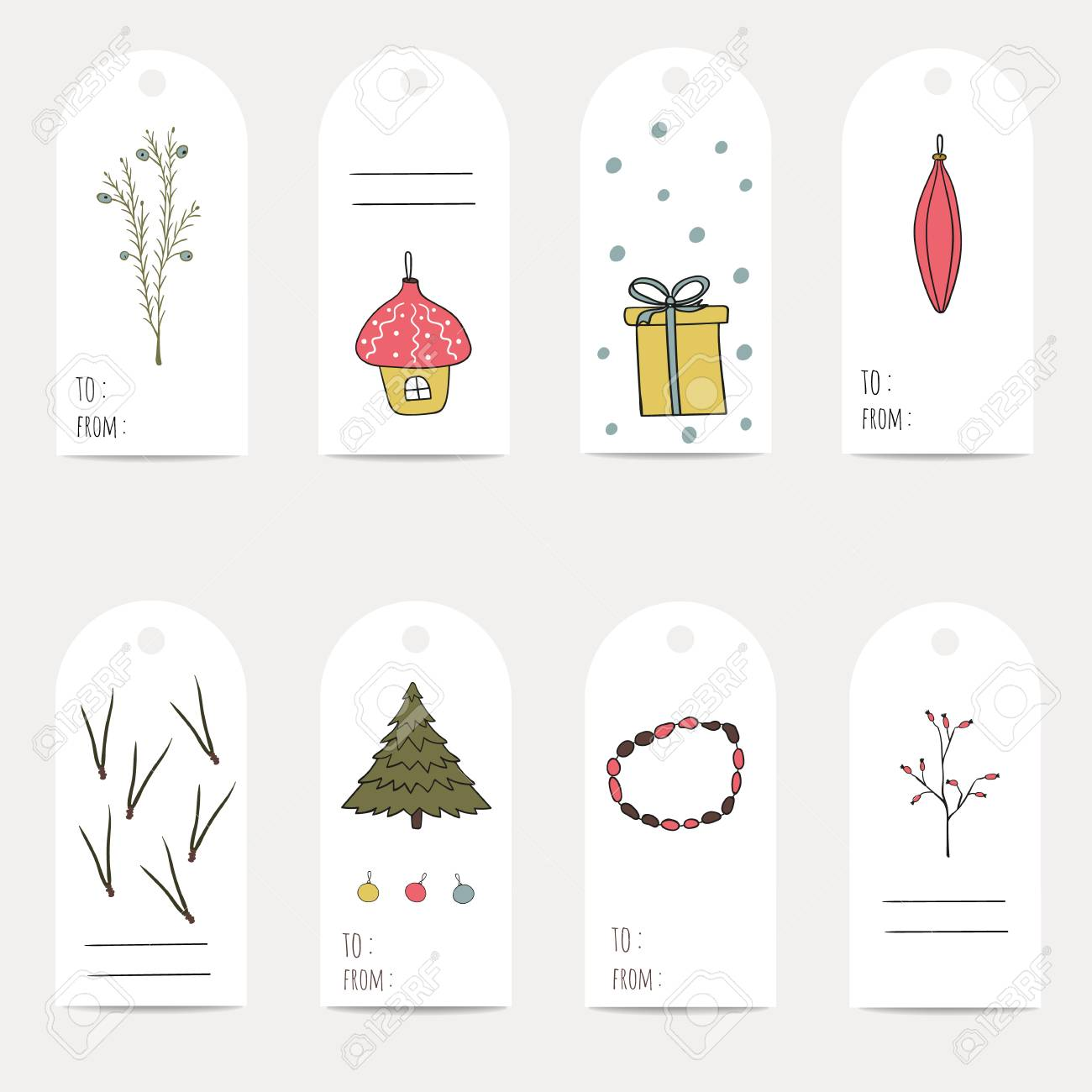 Christmas Gift Tags Template.Christmas Gift Tags Stickers And Labels Template For Greeting