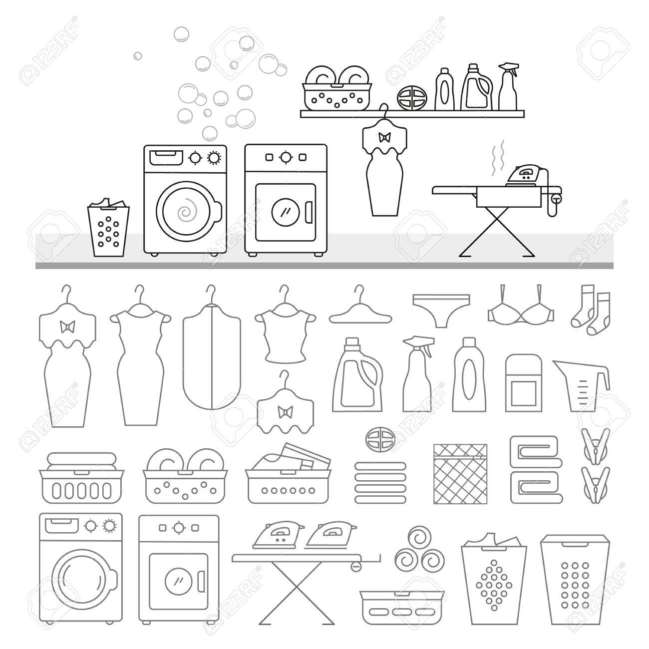 Elements For Laundry Interior And A Large Set Of Icons Room