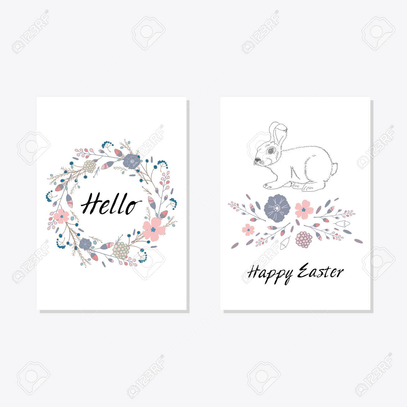 set of cards templates with cute flowers eggs bird and rabbit