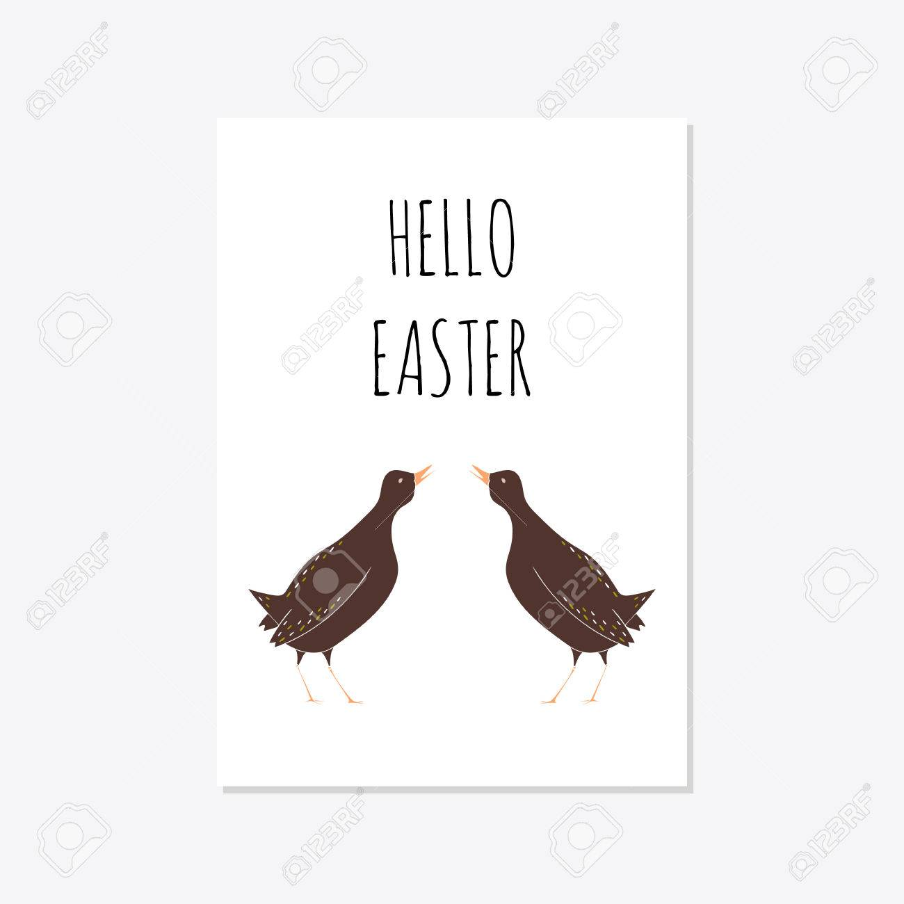 Set Karten Vorlagen Mit Niedlichen Blumen Eiern Vogel Und