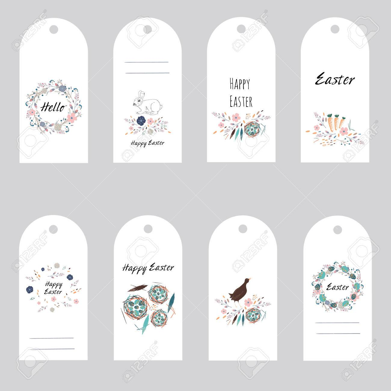 Easter gift tags and labels with cute flowers eggs bird and easter gift tags and labels with cute flowers eggs bird and rabbit stock negle Gallery