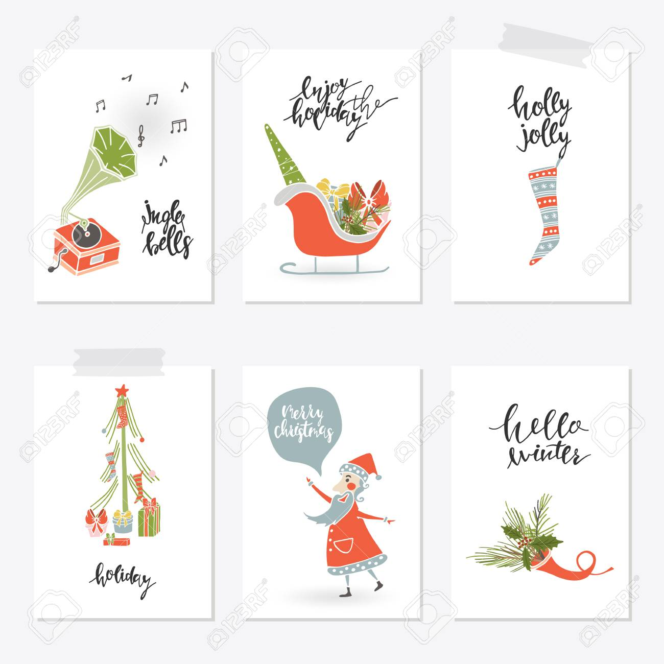 Collection Merry Christmas Gift Cards Royalty Free Cliparts