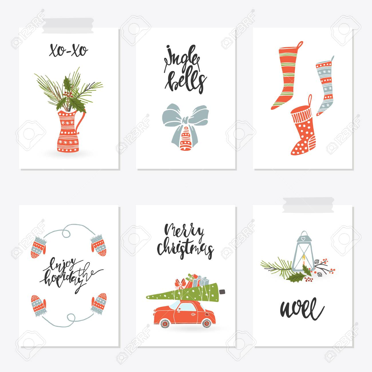 Collection Merry Christmas Gift Cards Royalty Free Cliparts, Vectors ...