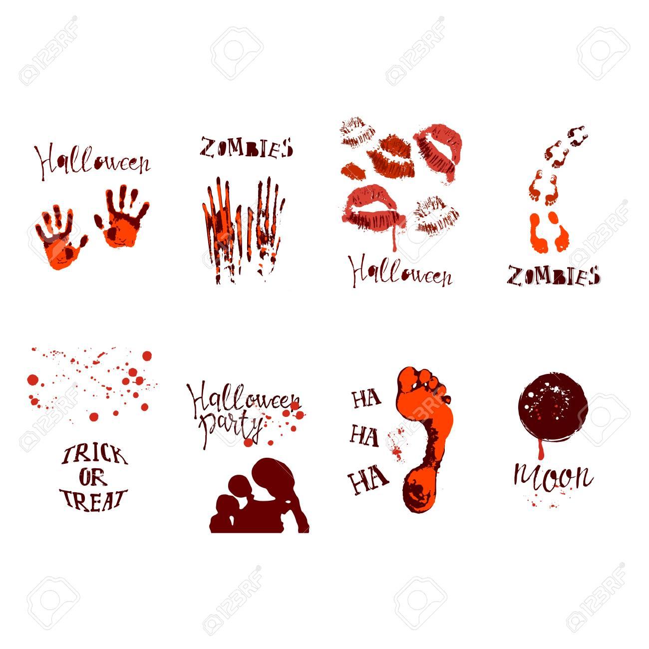 Set Of Designs With Halloween Symbols Royalty Free Cliparts Vectors