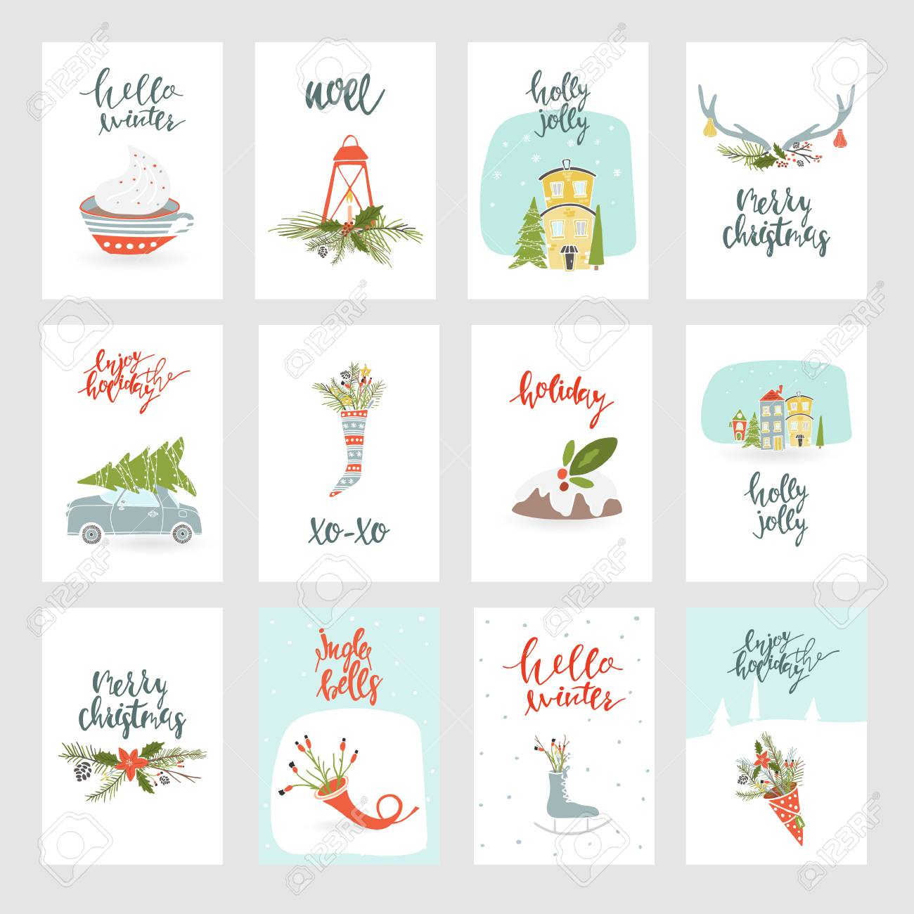 collection of 12 merry christmas and happy new year gift cards set of hand drawn