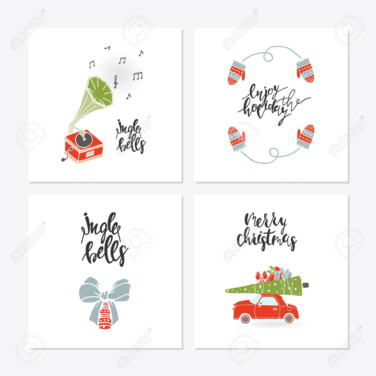 Christmas Sayings For Cards.Greeting Card With Christmas Toys Christmas Phrases And Quotes