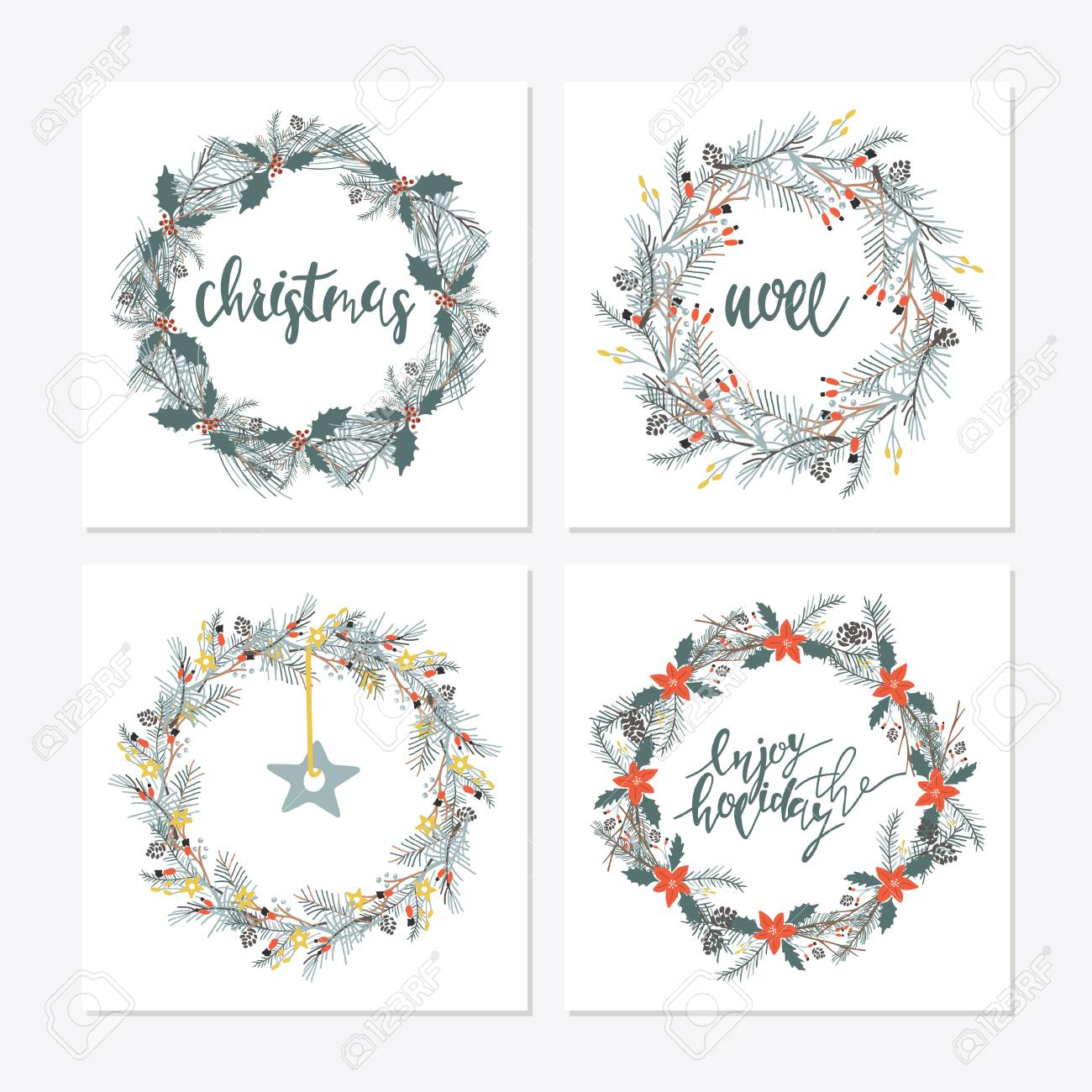 Frases De Letras Caligráficas Elegantes Com Grinaldas Grande Coleção De Mão Escrita Frases De Natal E Citações