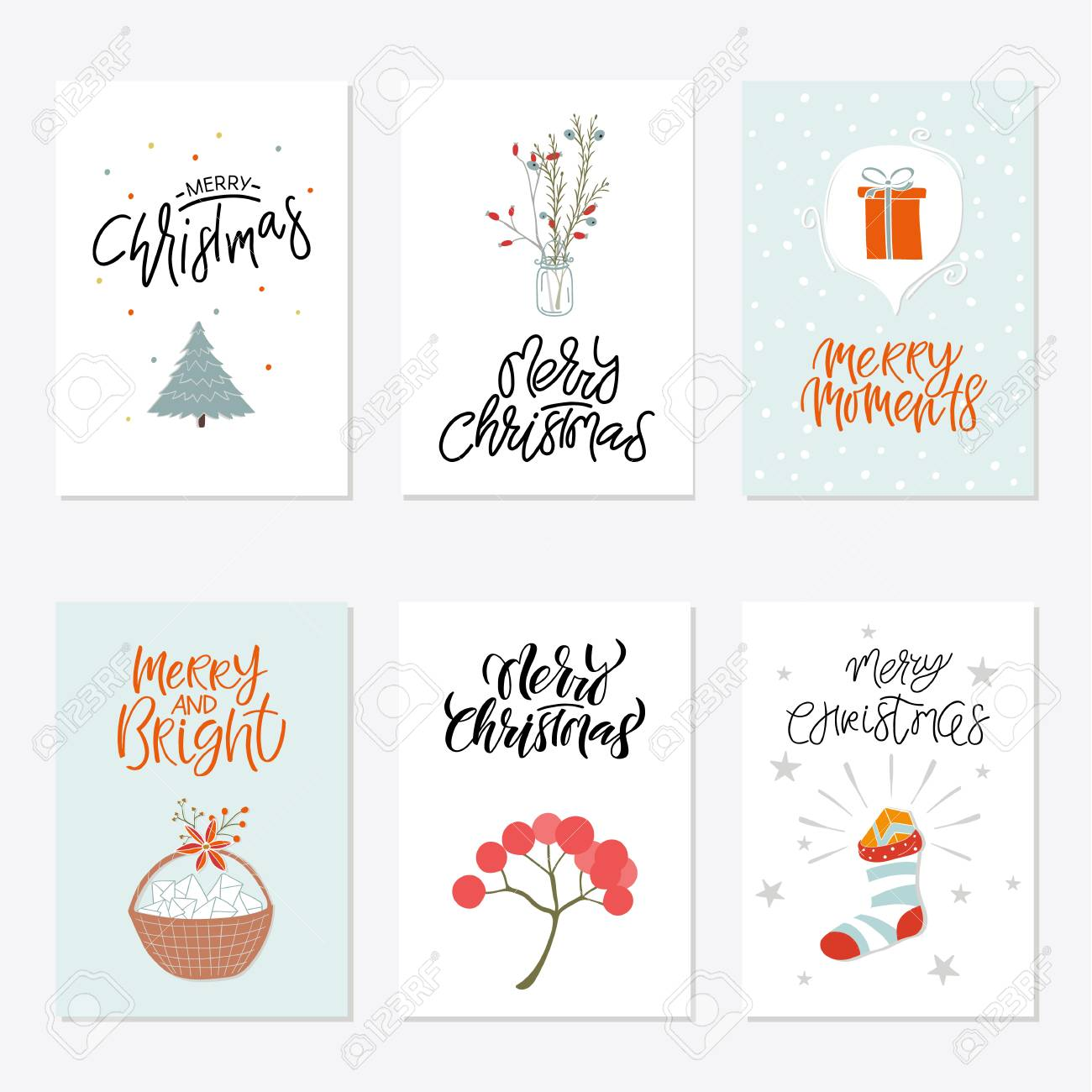 graphic relating to Printable Posters titled Assortment of 6 lovable Merry Xmas reward playing cards. Established of 6 printable..