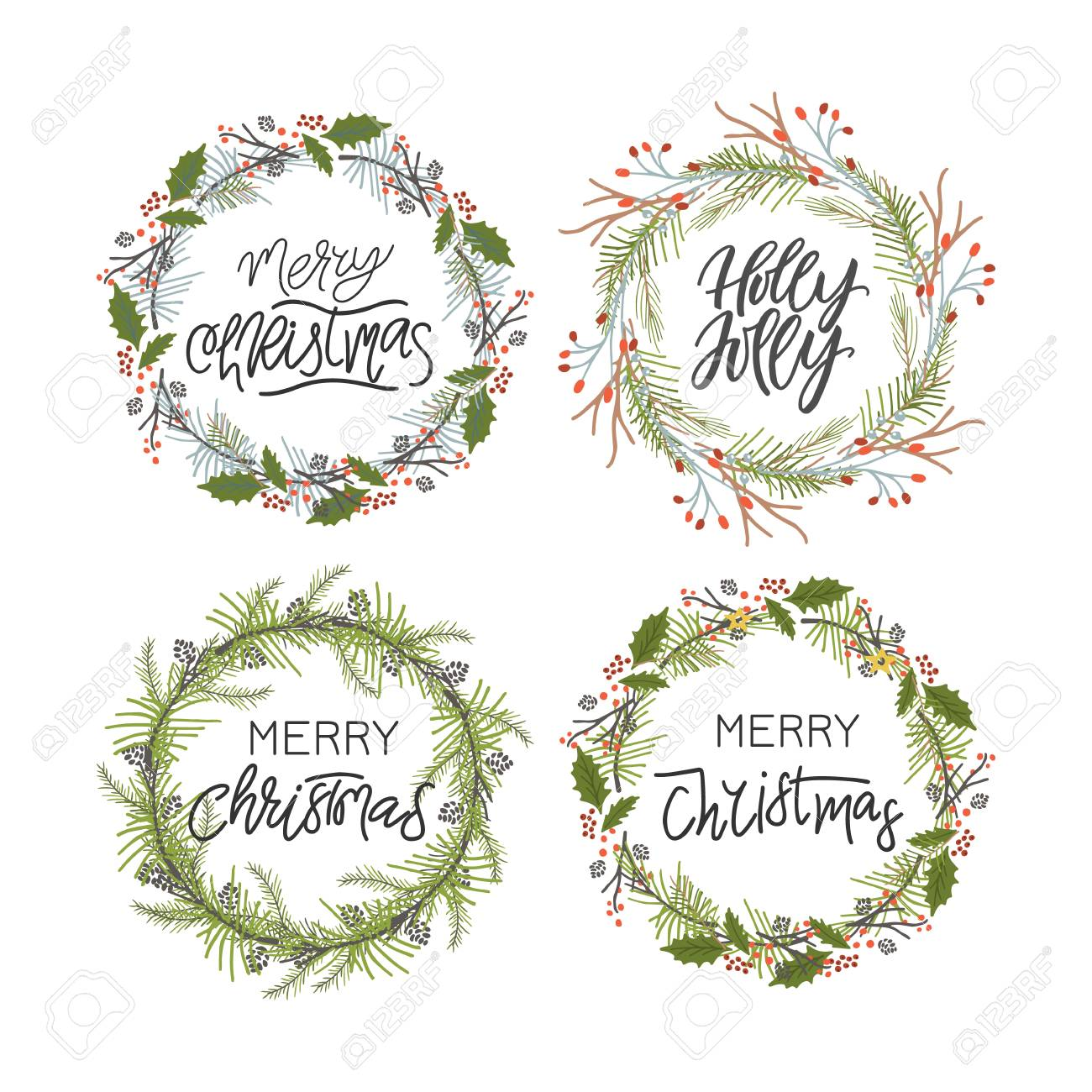Vector big collection of hand written christmas phrases and quotes. Elegant calligraphic lettering phrases with christmas wreaths. - 110721953