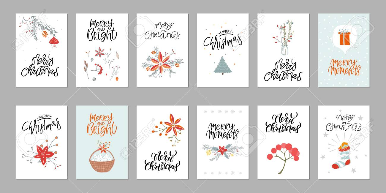 Collection Of 12 Cute Merry Christmas Gift Cards Set Of Twelve Royalty Free Cliparts Vectors And Stock Illustration Image 127312701