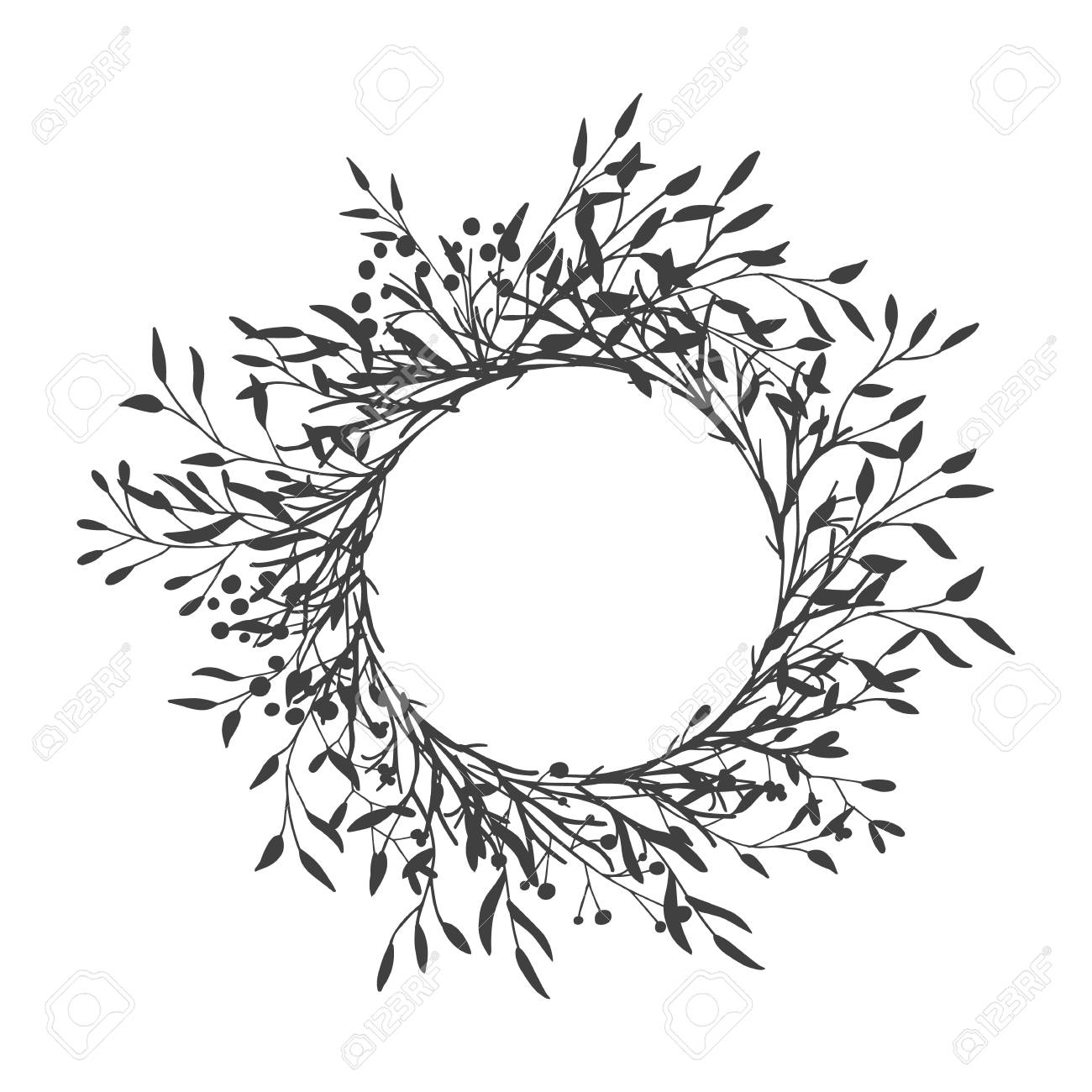 Wreath of leaves, plants, branches and flowers with white background. Hand drawn for cards, invitations, logo, greeting, wedding invite template illustration. - Vector - 123439619