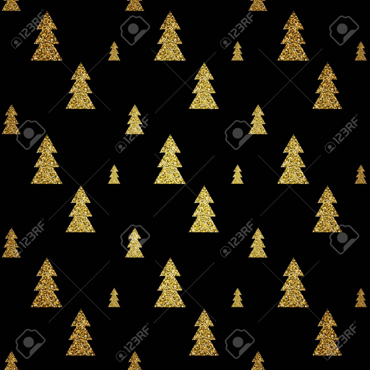 Seamless Pattern Of Gold Christmas Tree On Black Background
