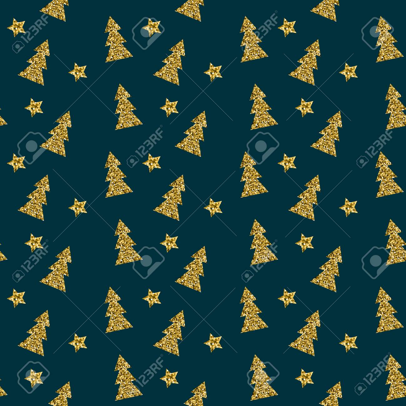 Seamless Pattern Of Gold Christmas Tree On Blue Background Elegant