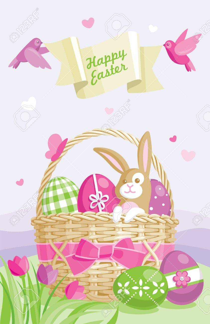 Easter illustration with colored eggs, basket and cute bunny on spring background Stock Vector - 9281483