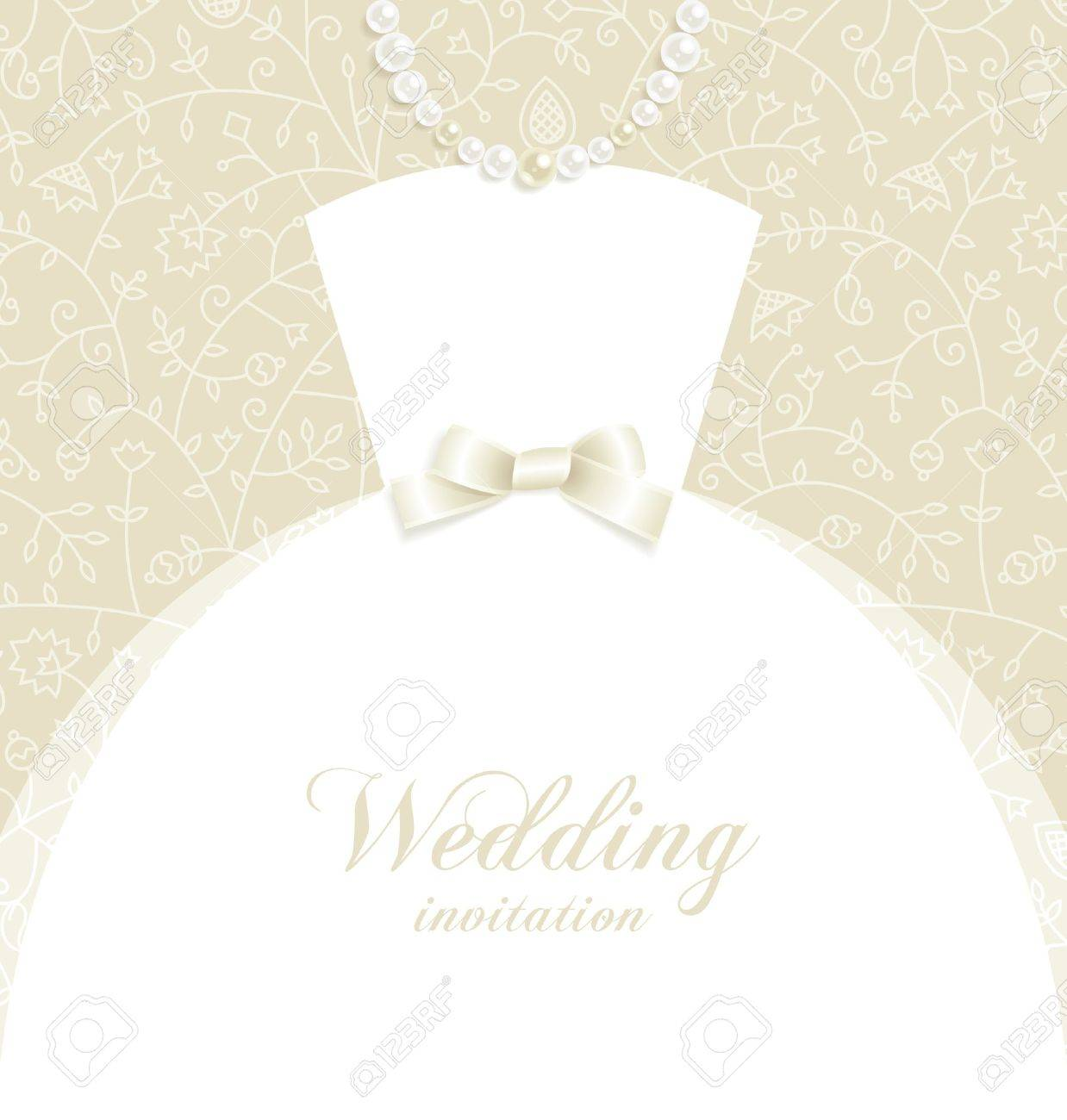 Wedding background with bridal dress silhouette and decorative elements Stock Vector - 9719812