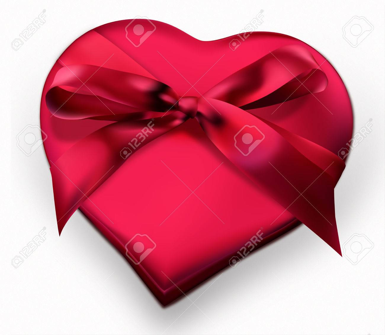 Red Heart Shaped Gift Box With Ribbon Illustration Royalty Free ...