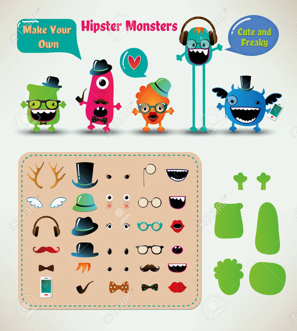Vector Freaky Hipster Monsters Set, Funny Illustration Stock Vector - 24163721