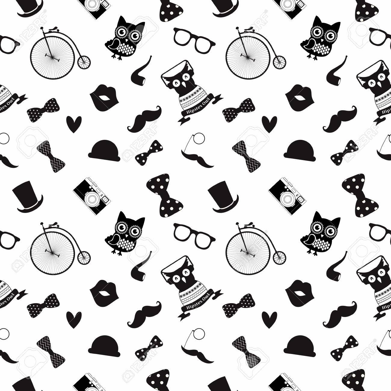Vector Hipster Black And White Seamless Pattern Background Royalty