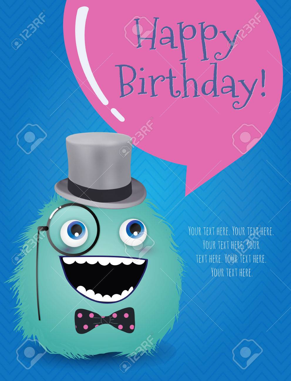 Hipster Monster Happy Birthday Card Illustration Royalty Free – Hipster Birthday Cards