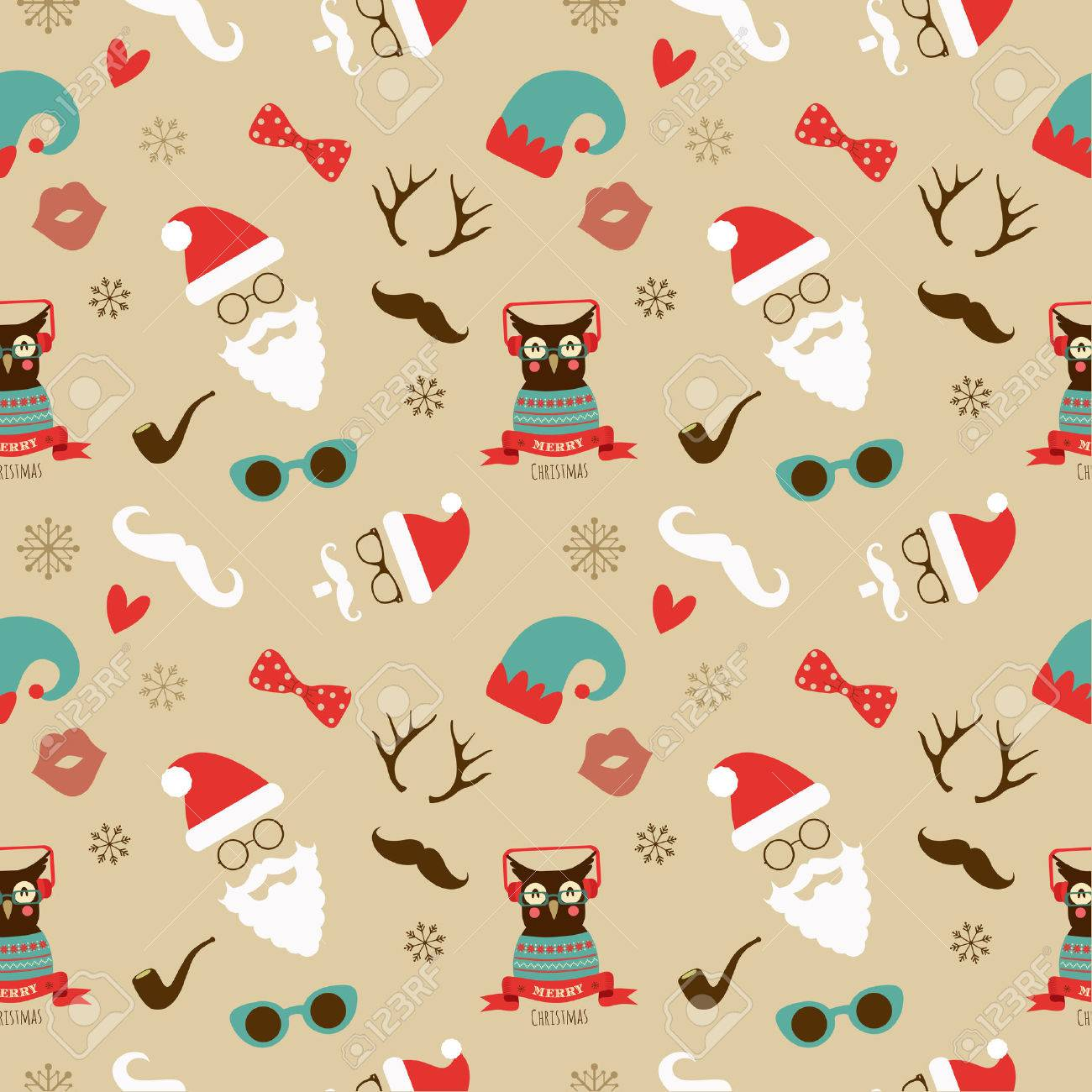 Vector Christmas Hipster Vintage Seamless Pattern Background