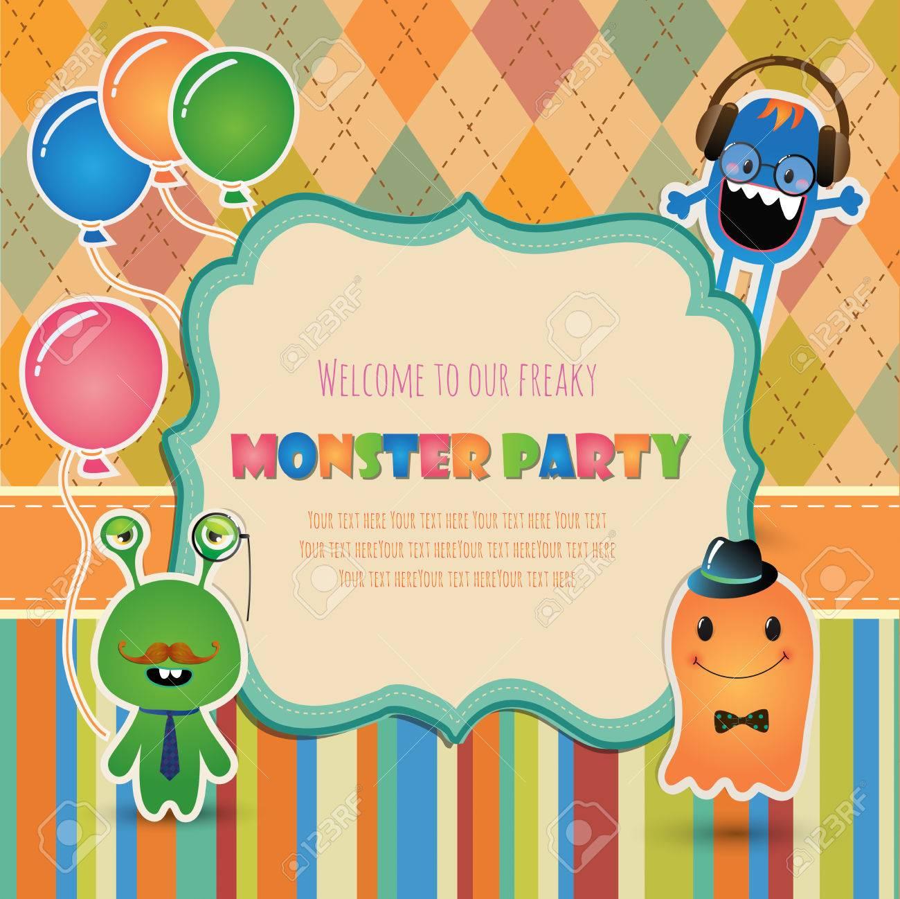 Vector Hipster Diseño De Tarjeta De Invitación De La Fiesta Monstruo