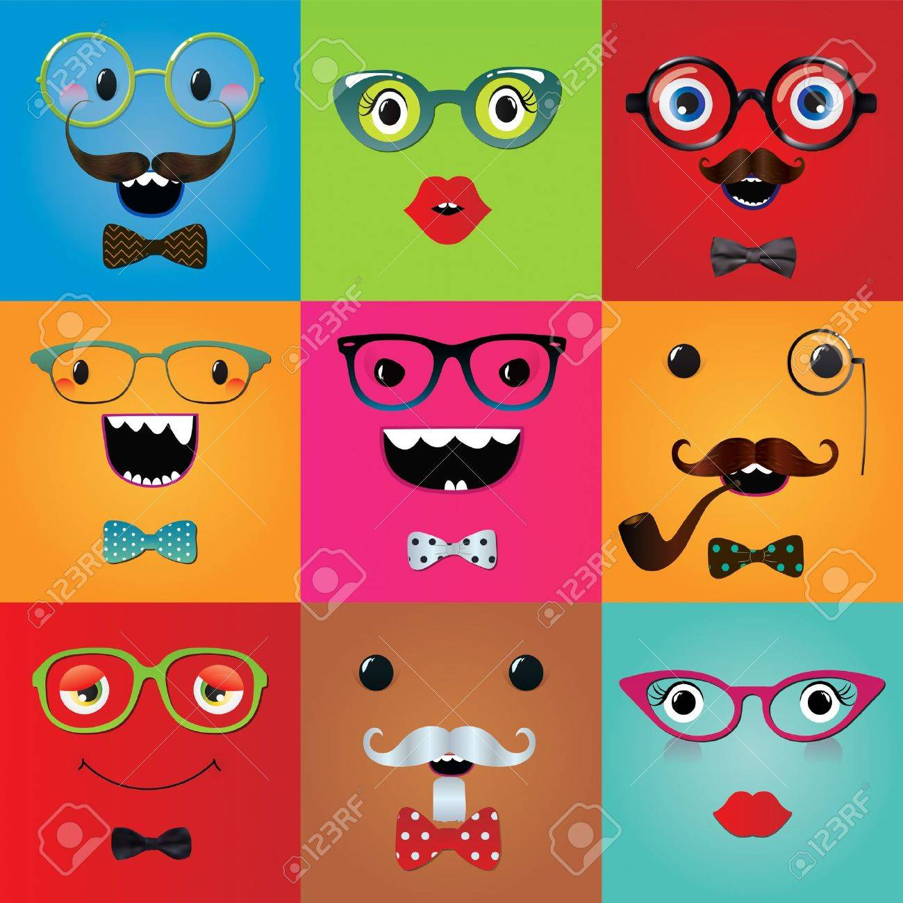 Set of funny hipster monster eyes and face expressions. Vector illustration. Party design elements and masks. Stock Vector - 25121886