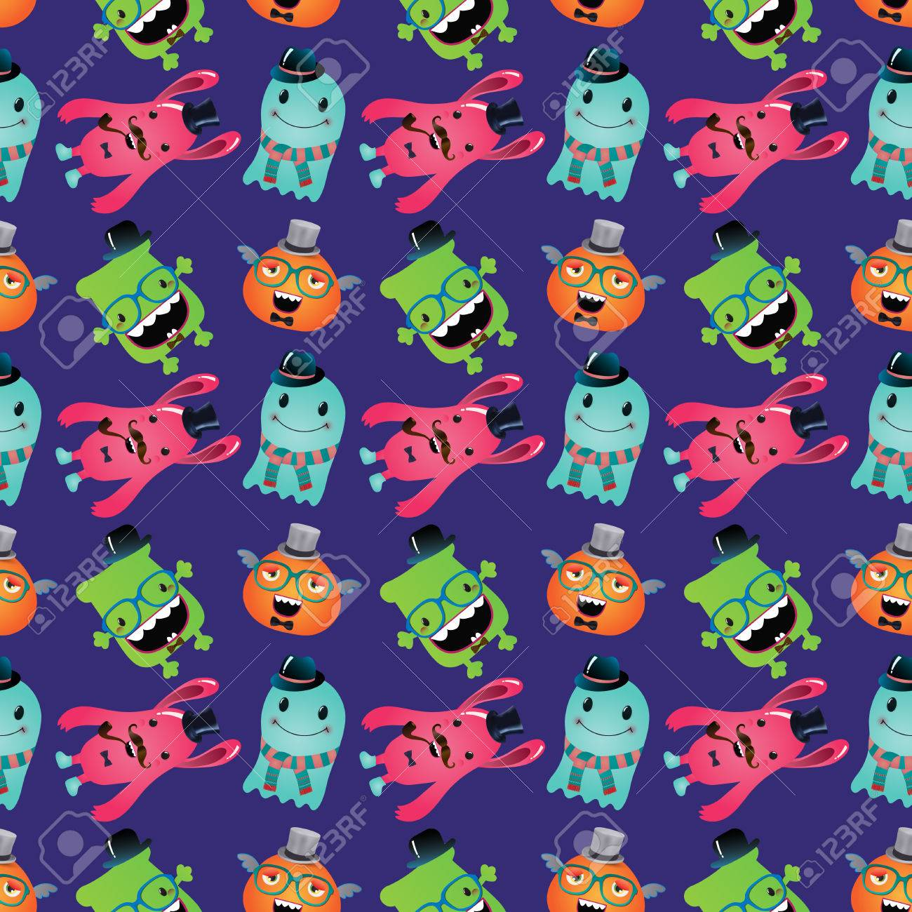 Vector Cute Retro Hipster Monsters Seamless Pattern, Background Stock Vector - 25498043