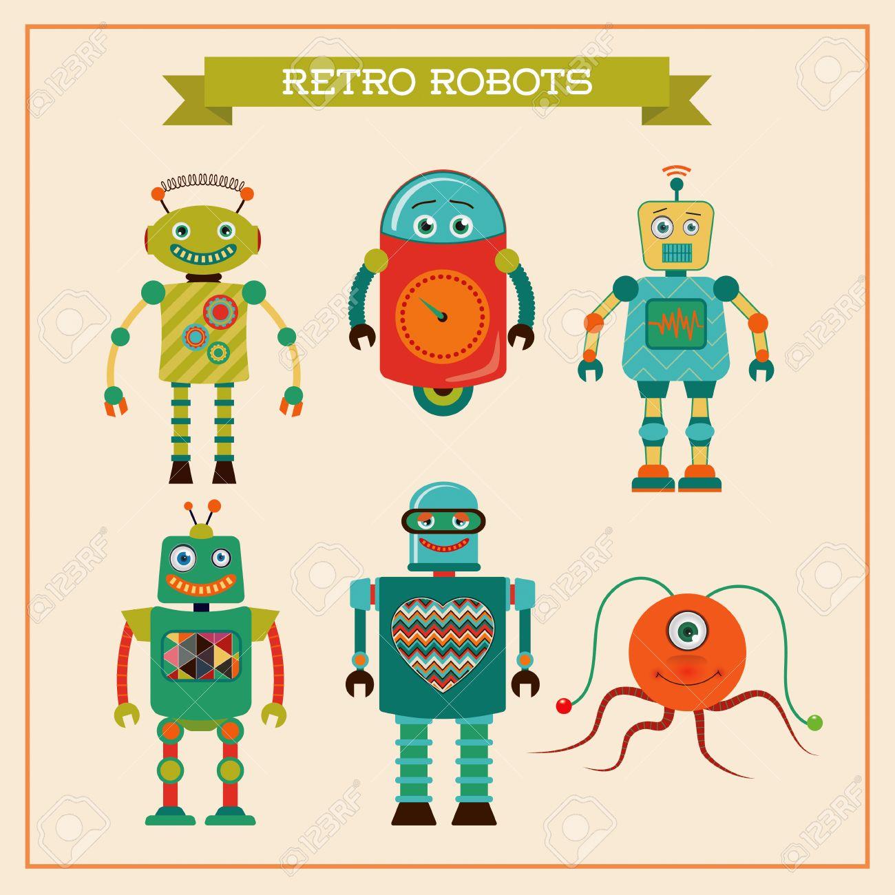 レトロなビンテージのかわいいロボットのセットですベクトル イラスト