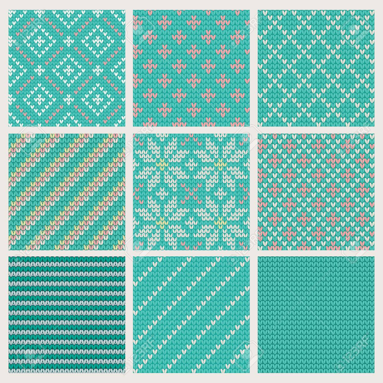 Set of Seamless Knitting Patterns  Vector illustration