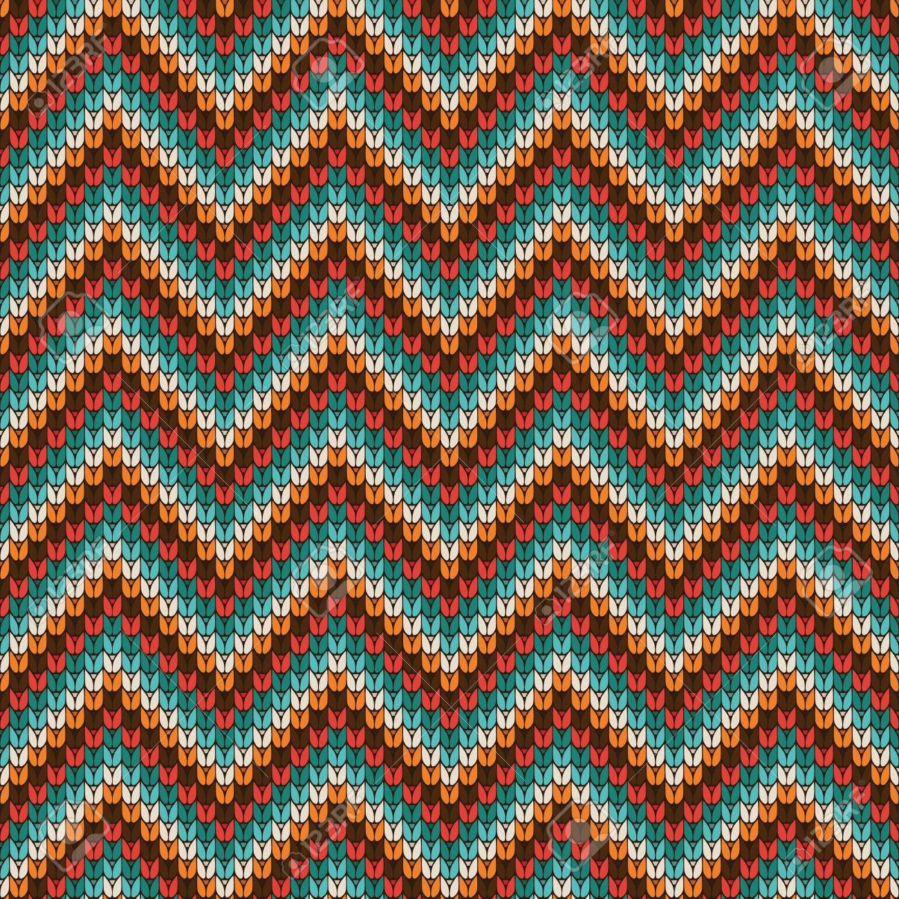 Patrón Zigzag Knitting Pattern. Ilustración Del Vector. Fondo ...
