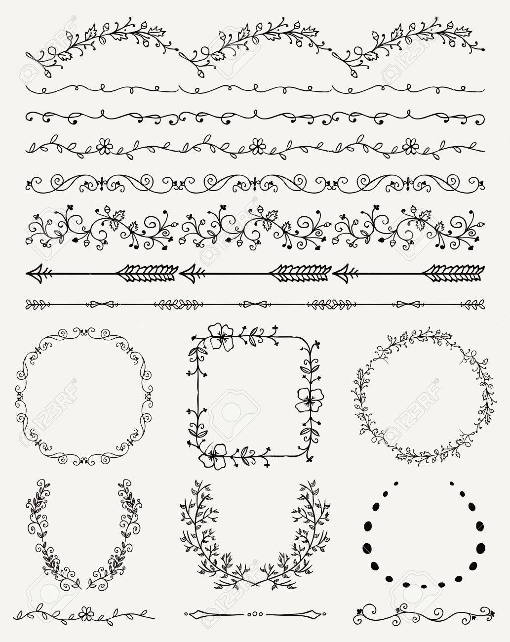 Collection of Black Artistic Hand Sketched Decorative Doodle