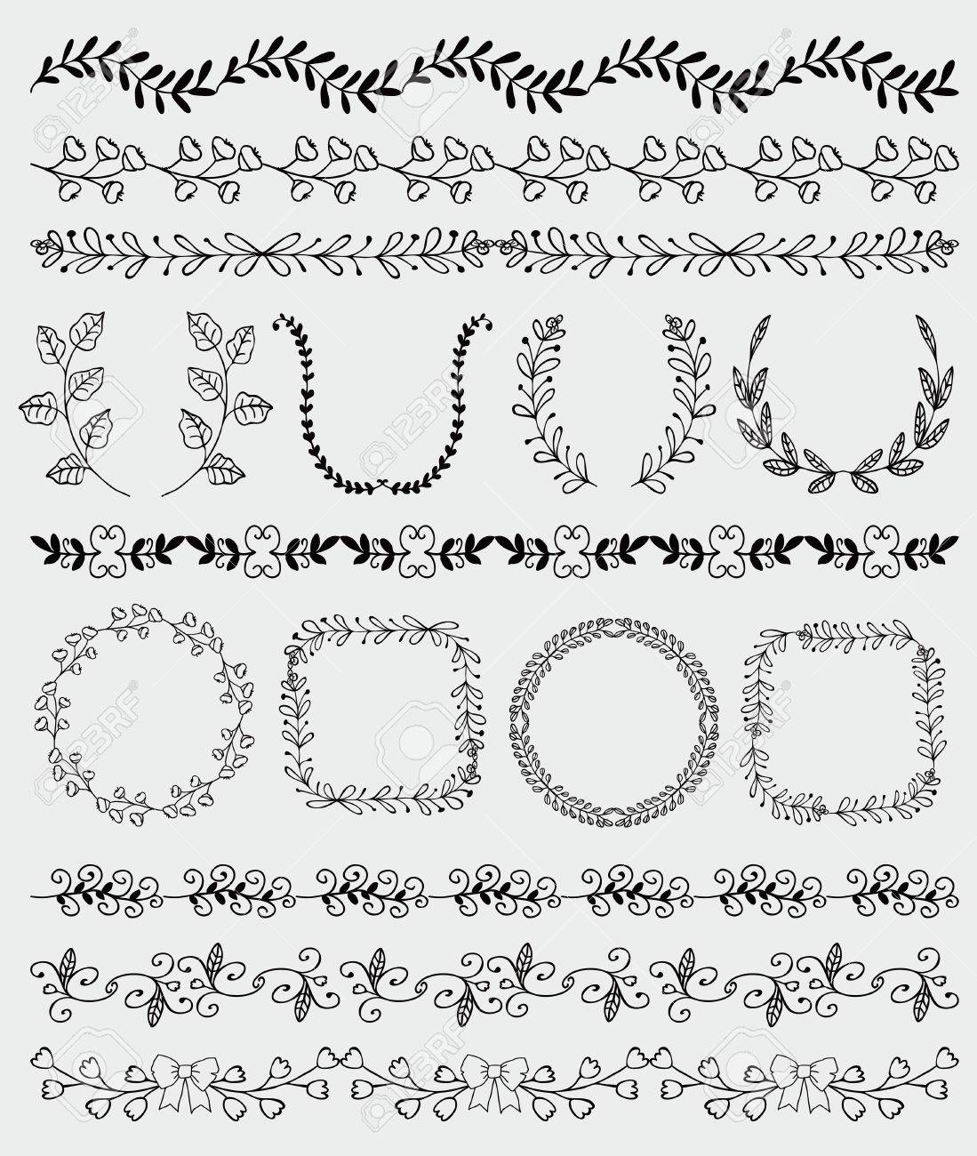 Collection Of Black Seamless Hand Sketched Artistic Rustic Decorative Doodle Vintage Borders And Frames Branches