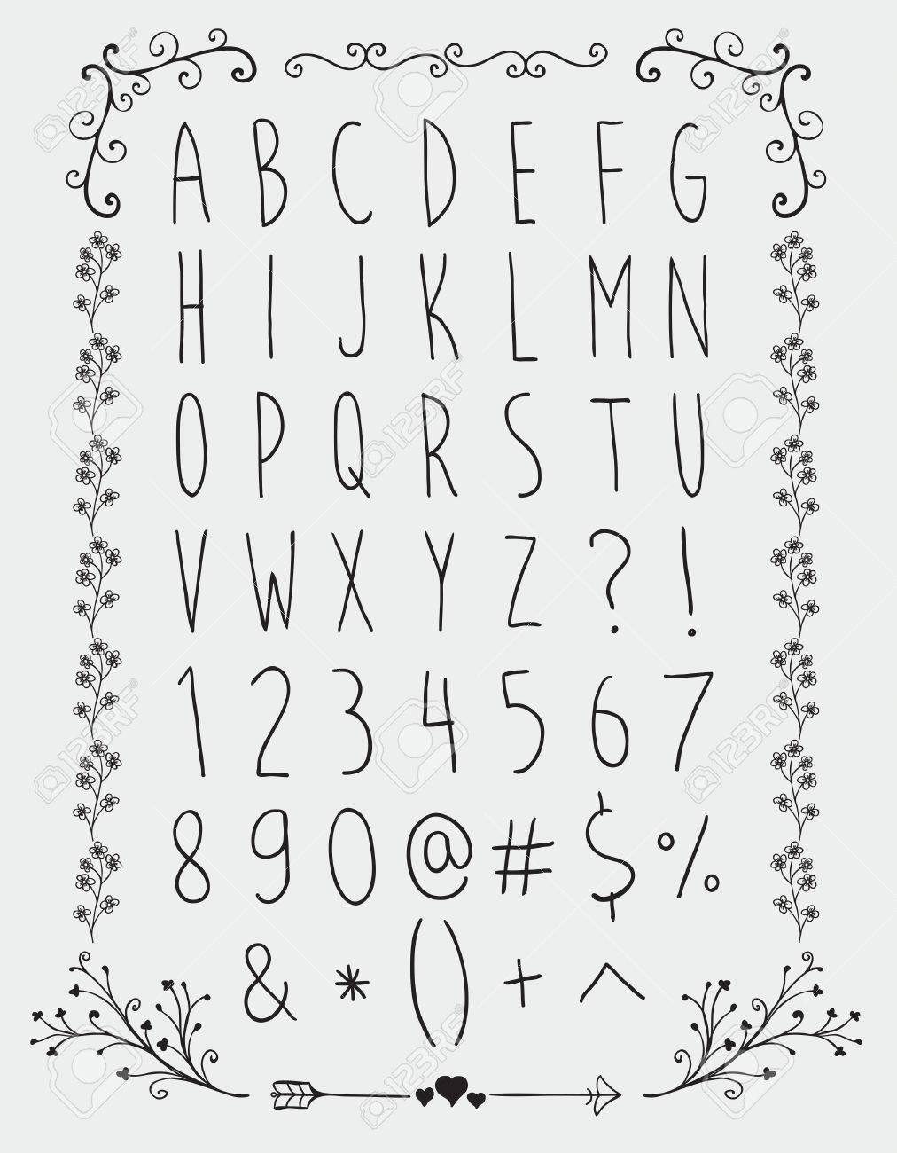 Simple Black Hand Gezeichnet Englische Alphabet Buchstaben Zahlen