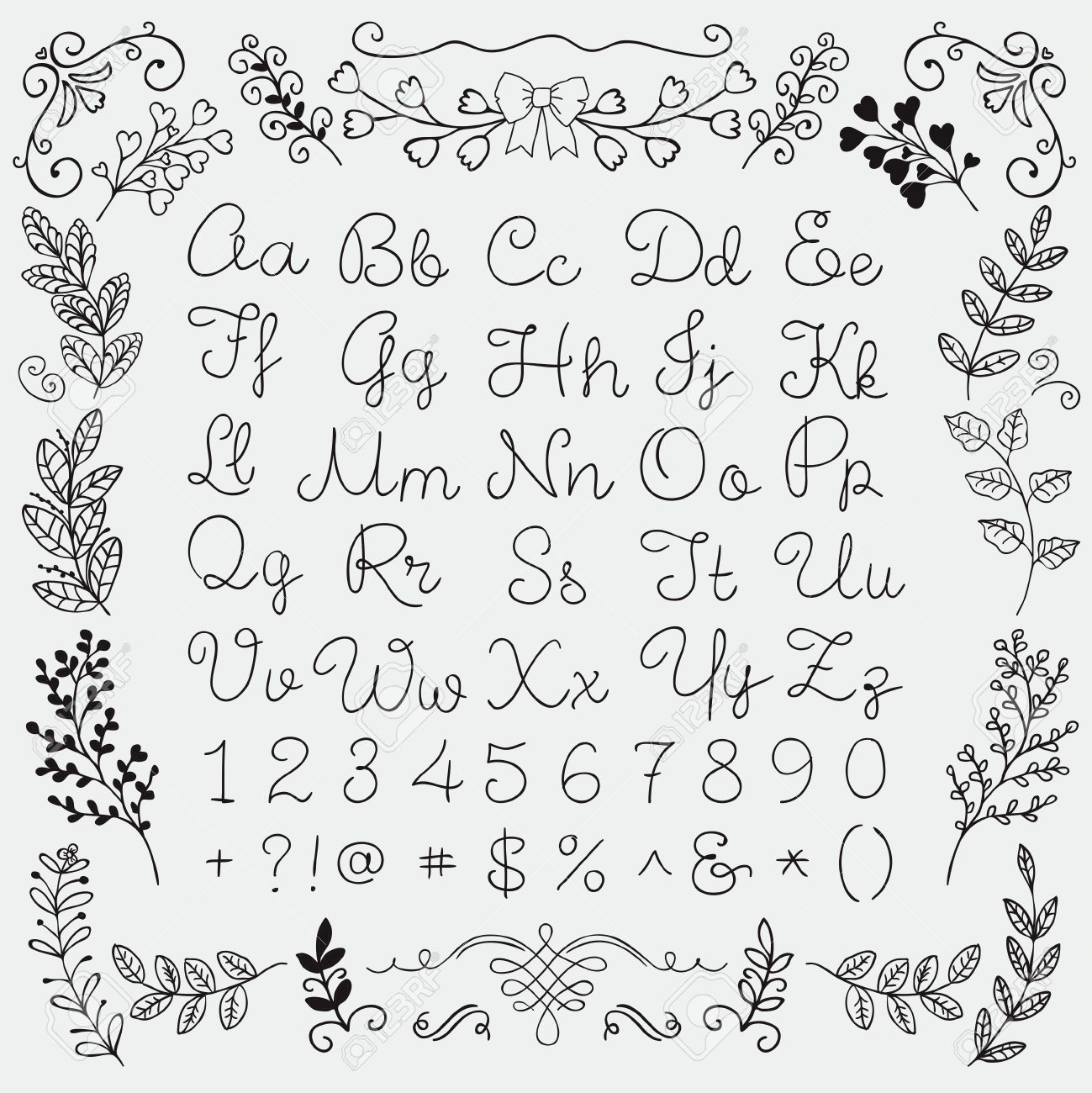english letters and symbols black hand drawn english alphabet letters numbers and symbols on white