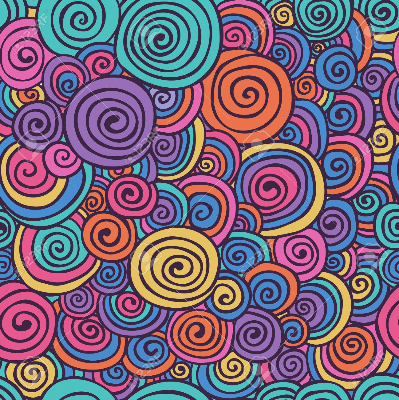 Abstract Colorful Hand Sketched Swirls Circles Seamless Background Pattern. Vector Illustration. Pattern Swatch. Hand Drawn Scribble Wavy Texture - 50212063