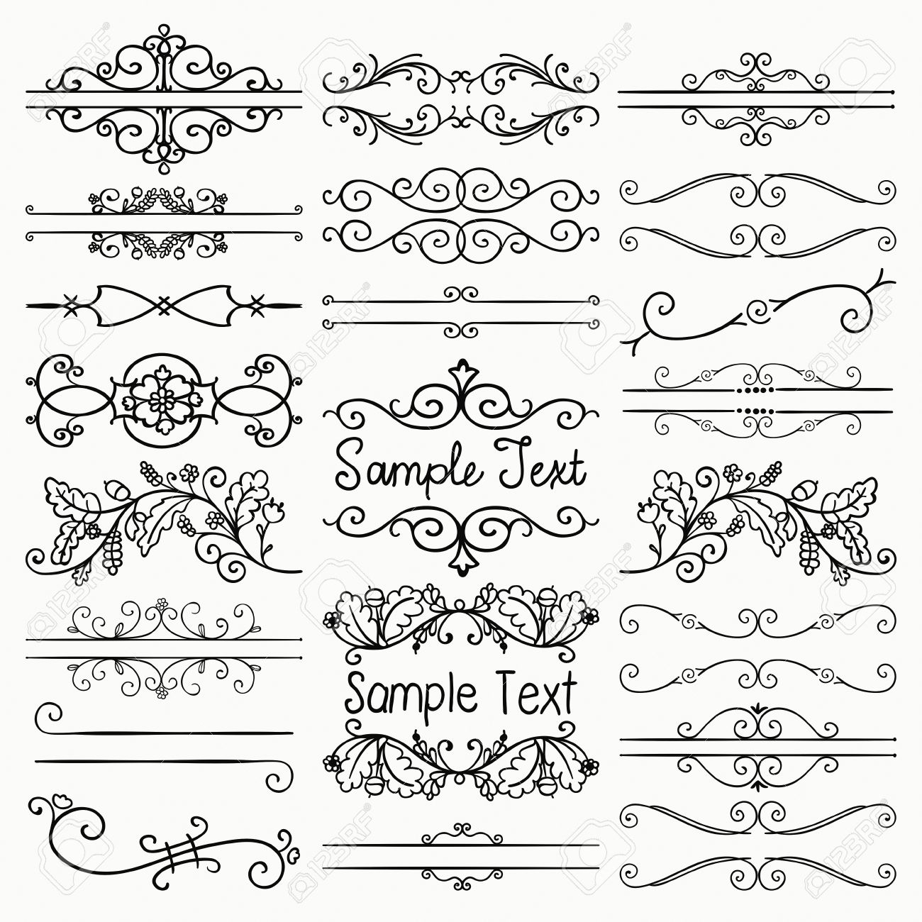 Vintage Vector Illustration Set Of Hand Drawn Sketched Black Doodle Design Elements Decorative Floral Rustic Dividers Borders