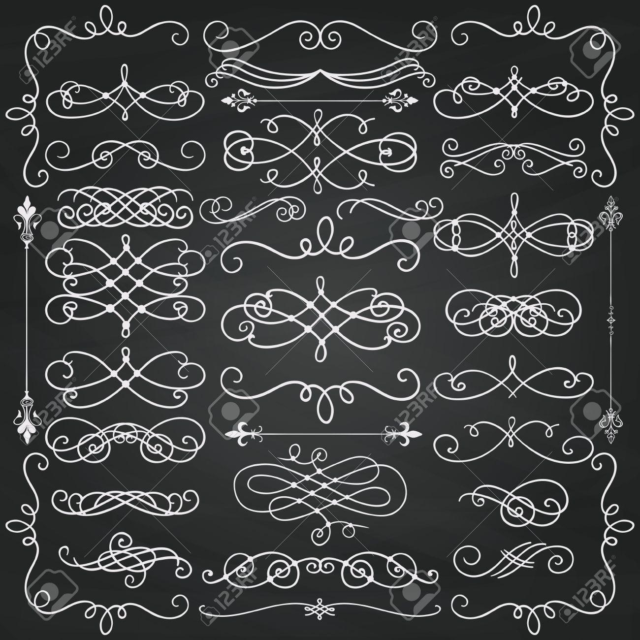 Conjunto De Elementos Del Diseño Del Doodle. Remolinos Decorativos ...