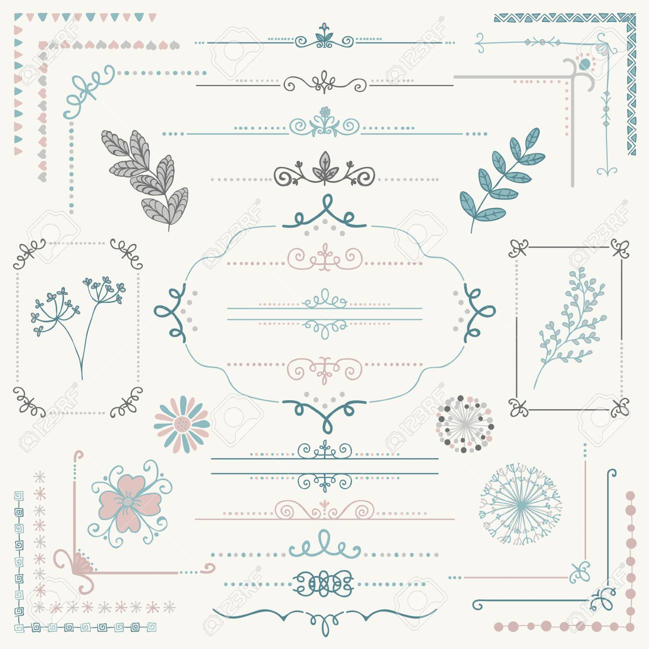 page rustic elements. Decorative Colorful Sketched Rustic Floral Doodle Corners, Branches, Frames, Dividers, Text Frames Page Elements R