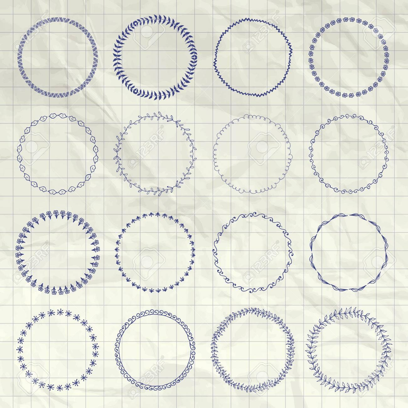 Set Of Pen Drwing Doodle Circle Logo Badge Elements Borders Frames Rustic