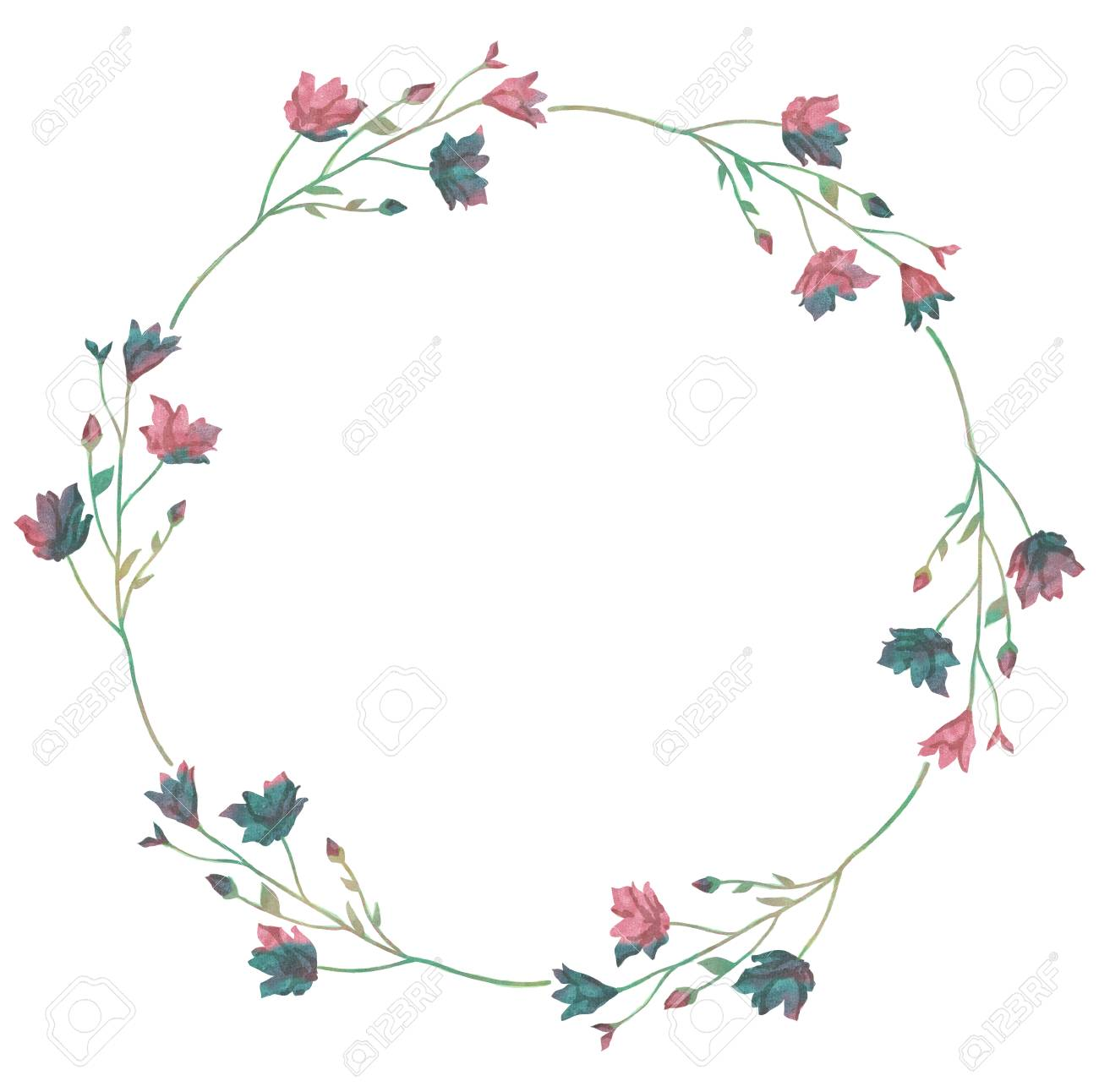 Watercolor Greenery Wreath Illustration Stock Vector