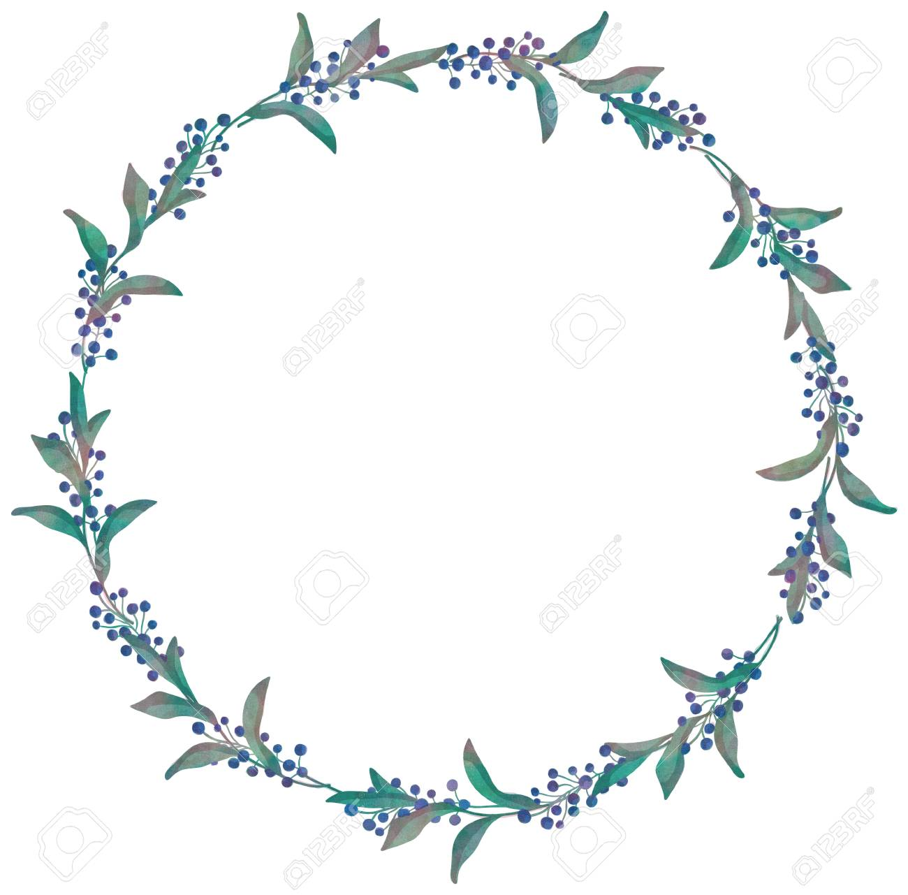 Drawn Watercolor Greenery Wreath Vector Illustration Stock
