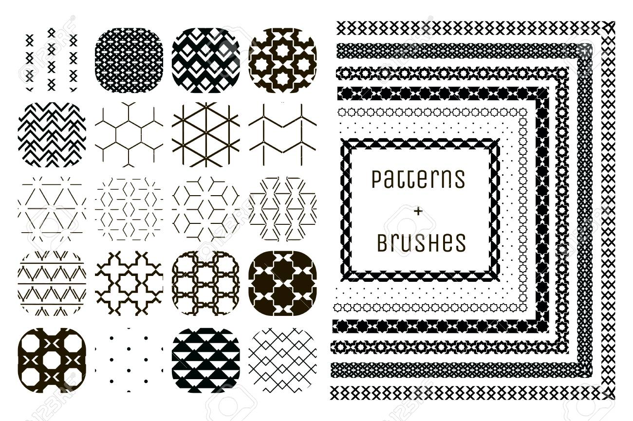 20 Vector Geometric Patterns and 7 Pattern Brushes