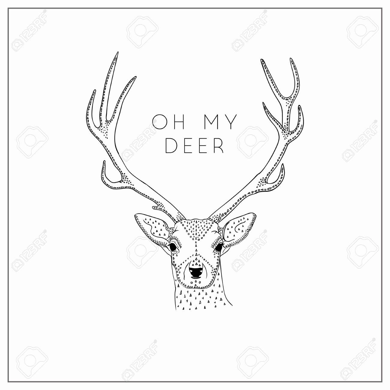 Vector Hand Drawn Deer Head Logo Tattoo Illustration With Horns