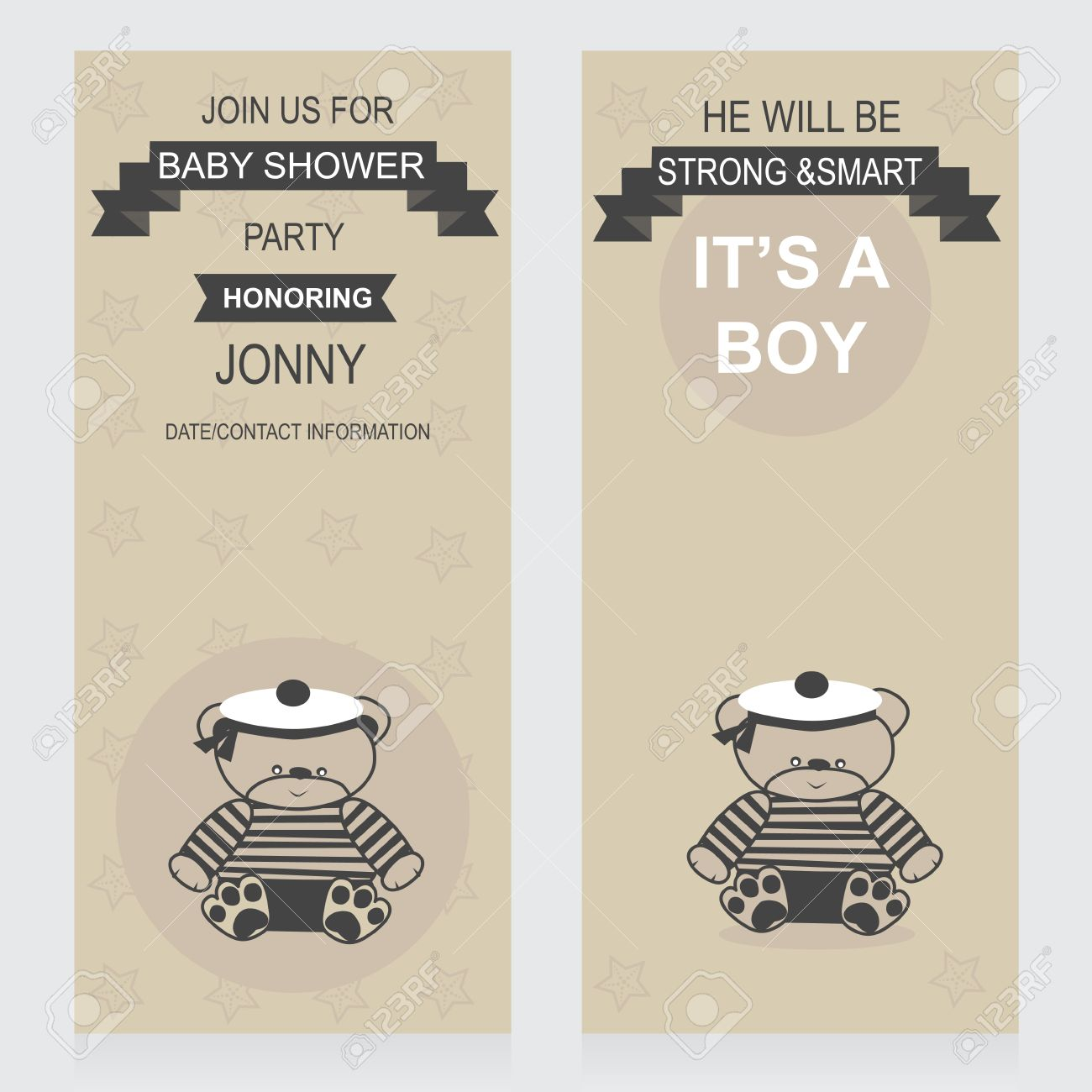 Invitations Template For Baby Shower Party Baby Boy Sailor Arrival ...