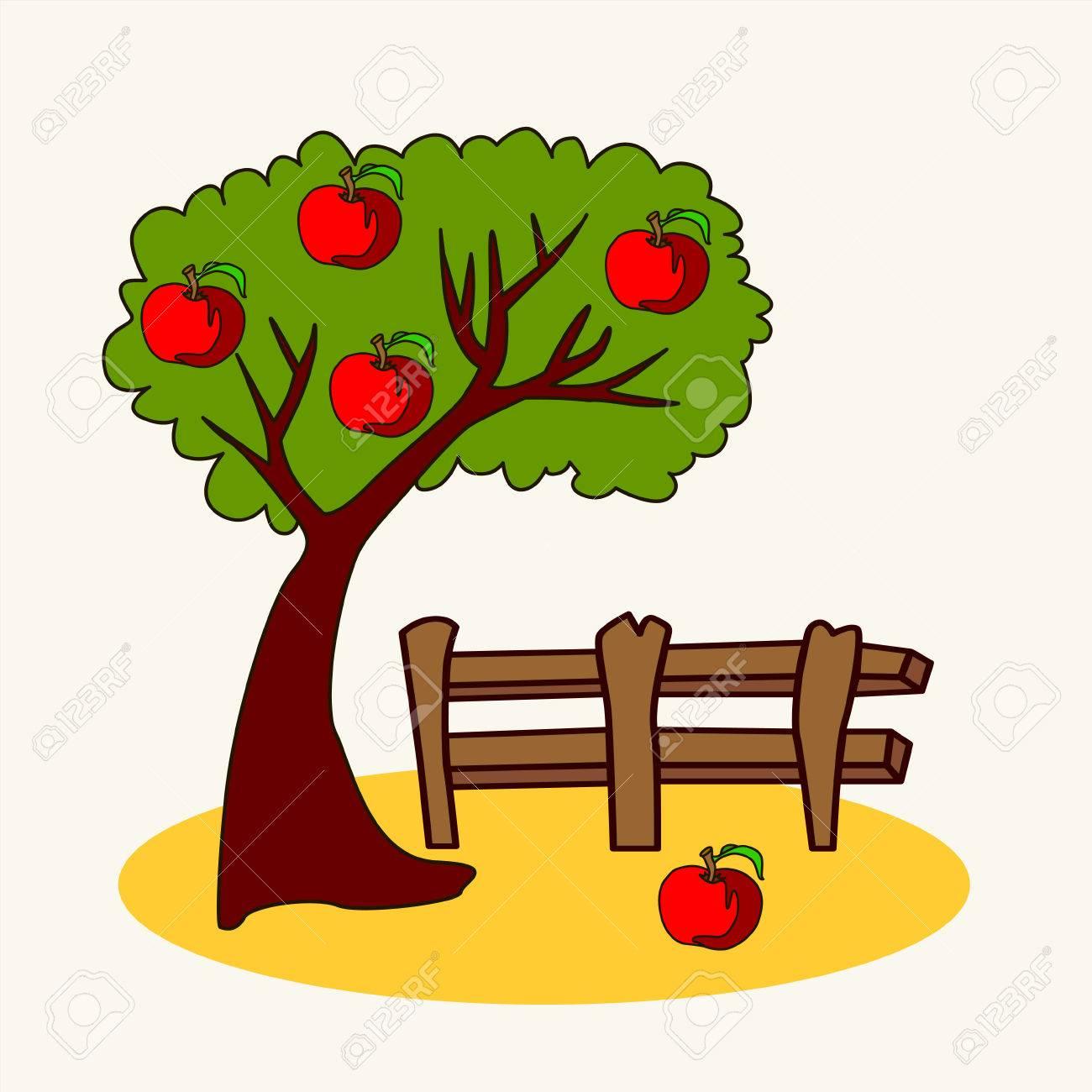 Zoológico Divertido Vector De Dibujos Animados Ilustración De Lindo árbol Con Manzana